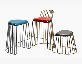 Brides Veil Bar and Counter Stool by Phase Design 3D