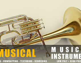 3D asset tenor horn instruments full detail low poly and 1