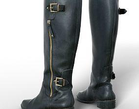 3D model Boot Tall Black Leather Women Clothing Footwear