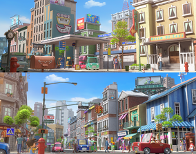 3D model Cartoon City Street Scene
