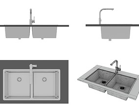 Sink with Double Bowl Configuration Abey 3D model