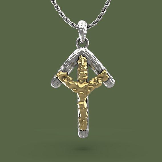 Bindrune Tiwaz and Algiz pendant