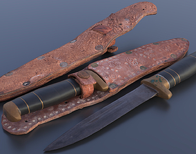 3D asset Knife with decorated sheath