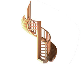 Wooden spiral staircase 3D model