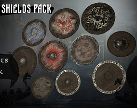 Viking shields pack 3D model
