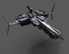 Scifi space ship Starship 3D model realtime