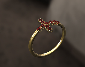 3D printable model Cross Ring with Diamonds in Pendant