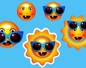 3D Subdivision Cartoon Summer Sun Logotype Sign