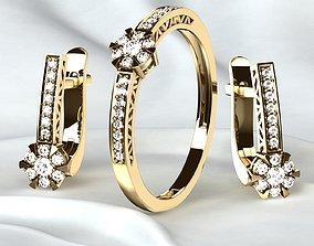 Golden Ring plus Earrings with Diamonds 3D print model