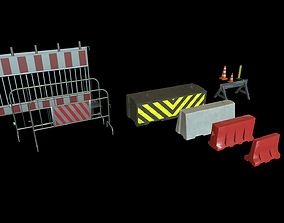 3D asset Road Fences Traffic barriers
