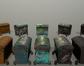 3D asset realtime rust trash can
