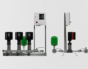 3D model Grundfos Hydro MPC E 3 pump station