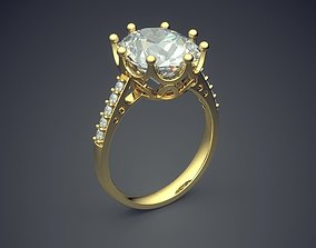 Engagement Ring With Big Diamond CAD 3D printable model