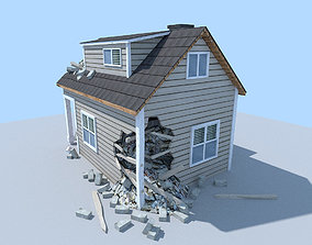3D low poly destroyed house