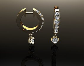 3D print model Mid Size Diamond Dangle Hoop Earring 2MM