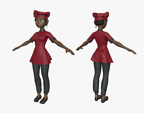 3D asset Cartoon Cook Girl 04