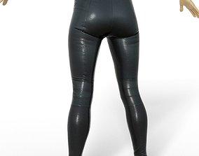 Legging Sports Shiny Black Clothing women Fashion 3D asset