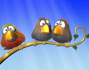 3D asset Cartoon Bird Rigged