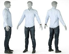Male Casual Outfit 15 Shirt Pants Shoes 3D model