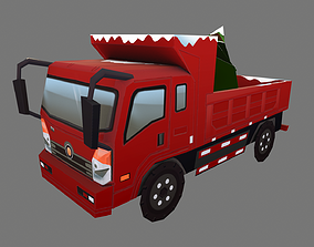 3D model low-poly Christmas truck