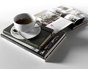 3D Books with Coffee Cup