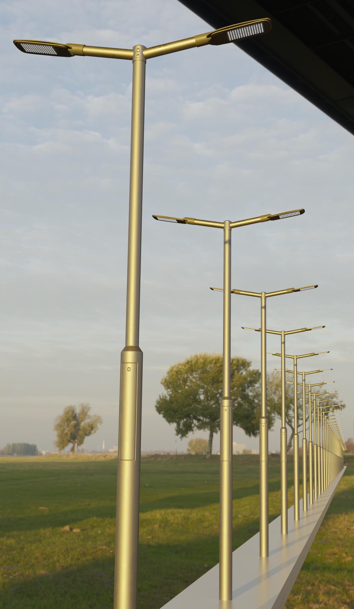 Scifi City Lights - Street Light 12 with Pole 3 Version 2 - Blender-2.80.1