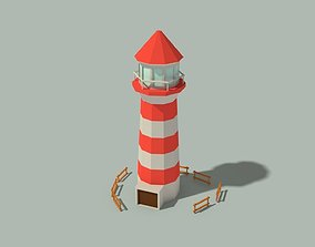 Low Poly Lighthouse and Wooden Fences 3D model