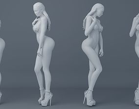 Long hair girl wearing bikini 002 3D print model