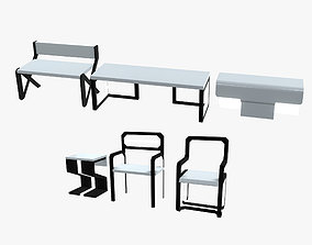 Minimalistic Sci-Fi Tables and Chairs 3D asset