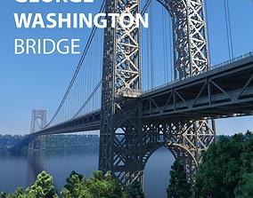 3D George Washington Bridge with Tollbooth New York