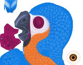Cartoon lowpoly parrot 3D asset