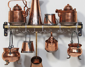 Old Copper Cookwares cookware 3D model