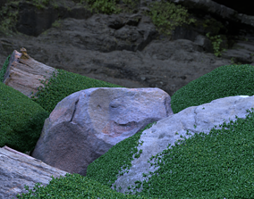 real-rocks 3D Scanned Rock Pack With Moss