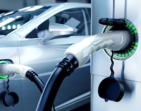 Electric Vehicle Charging Station animated 3d animated