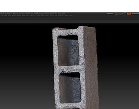 low-poly 3D scanned concrete block