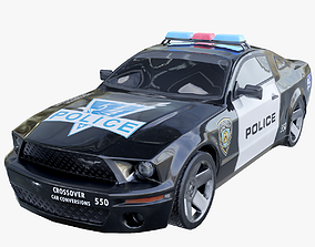 Los Angeles Police Ford Mustang 3D asset low-poly