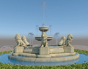 fountain with lions sculptures 3D model