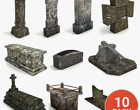 Lowpoly Gravestone 10 Pack vol2 3D asset