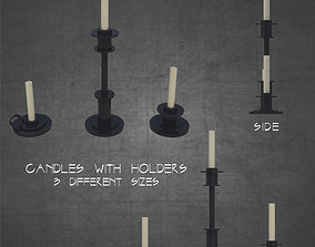 Candles with holders 3 different sizes 3D asset 2