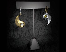 3D print model Yin and Yang earrings