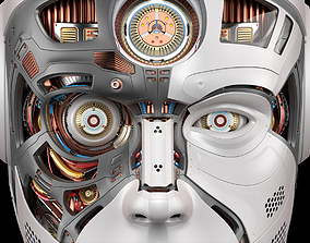 machine 3D Robot Head 2