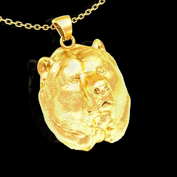 Bear Head Sculpture Pendant jewelry Gold