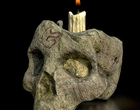 3D model Game Ready Skull Candle D180309