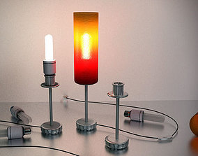 Tablelamp with rigged cable 3D asset