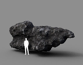3D asset Low poly Lava Rock with dust 08 200229