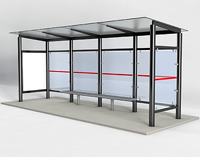 Bus Stop 3D model game-ready architectural