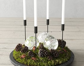 3D Christmas Decor With Pine Cones And Candles