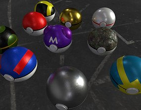 3D asset game-ready Collection Pokeball