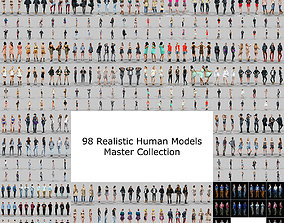 low-poly 98 Realistic human models