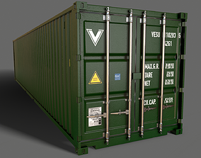 3D model PBR 40 ft Shipping Cargo Container - Green Dark